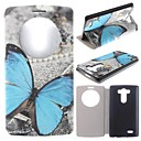 The Blue Butterfly Pattern PU Leather Full Body Case with Stand for LG G3