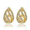 Hot (Water Drop) White Gold-Plated Stud Earrings (Gold and White) (1 Pair)