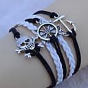 Vintage Anchor rudder skull 18cm Unisex  Leather Wrap Bracelet(1 Pc)