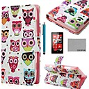COCO FUN Colorful Owl Pattern PU Leather Full Body Case with Screen Protector, Stylus and Stand for Nokia Lumia N520