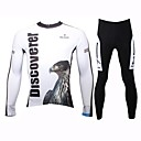 PaladinSport Mens Spring and Summer and Autumn Style 100% Polyester White Eagle Long Sleeved Cycling Suits