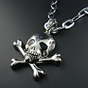 Mens Skull Leather Pendant Necklace