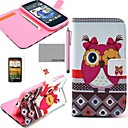 COCO FUN Pink Cute Owl Pattern PU Leather Case with Screen Protector, Stylus and Stand for HTC Desire 500