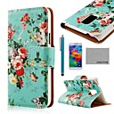 COCO FUN Rose Green Pattern PU Leather Case with Screen Protector, Stylus and Stand for Samsung S5 Mini G800