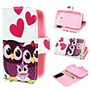 Three Owls and Hearts Wallet PU Leather Case Cover with Stand and Card Slot for Samsung Galaxy Young 2 SM-G130