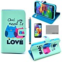COCO FUN Fall in Love Owl Pattern PU Leather Case with Screen Protector, Stylus and Stand for Samsung S5 Mini G800