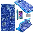 COCO FUN Blue Tribal Pattern PU Leather Case with Screen Protector, Stylus and Stand for Samsung Galaxy Note 4