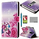 COCO FUN Rose Butterfly Silk Pattern PU Leather Full Body Case with Screen Protector, Stylus and Stand for LG G2 MINI