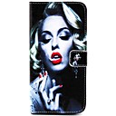 Smoking Monroe Pattern PU Leather Cover with Stand and Card Slot for iPhone6 Plus