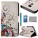 COCO FUN Purple Rose Silk Pattern PU Leather Case with Screen Protecter and Stylus for Samsung Galaxy S4 Mini i9190