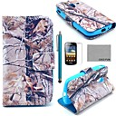 COCO FUN Grey Branch Pattern PU Leather Case with Screen Protector, Stylus and Stand for Samsung Galaxy Ace 2 i8160
