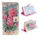 Red Flower Design PU Leather Case with Card Slot and Stand for iPhone 6