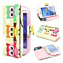 Three Cute Owls Wallet PU Leather Case Cover with Stand and Card Slot for Samsung Galaxy Trend Lite S7390