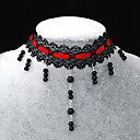 Handmade Elegant Sweet Lolita Longer Pearl Chain Necklace With Red Band