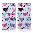 Cat and Beard Pattern PU Leather Full Body Cover with Card Slot for Sony Xperia Z3 Compact/Z3 Mini