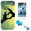 Finger Love Heart Pattern TPU Soft Case with Stand and Protective Film for iPhone 6
