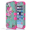 3 in 1 Hybrid Elegant Penoy Flower Pattern Hard Soft Silicone Back Case Cover Fit For iPhone 5S(Assorted colors)