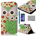 COCO FUN Green Flower Owl Pattern PU Leather Full Body Case with Screen Protector, Stylus and Stand for Sony Z2 Compact