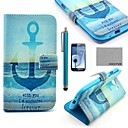 COCO FUN Anchor In Sea Pattern PU Leather Case with Screen Protector, Stylus and Stand for Samsung Galaxy S3 I9300
