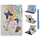Flower and Butterfly Pattern PU Leather Full Body Case with Stand and Capacitance Pen for iPad Air