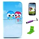 Lover Owl Pattern PU Leather Case with Screen Protector and Stylus for Samsung Galaxy S4 I9500