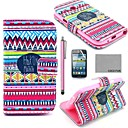 COCO FUN Red Tribal Carpet Pattern PU Leather Case with Film and Stylus for Samsung Galaxy Core GT-I8260 I8262