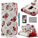 COCO FUN Rose White Pattern PU Leather Case with Screen Protector, Stylus and Stand for Samsung S5 Mini G800