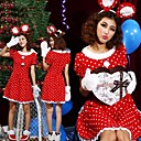 Cute Big Ears Mouse Girl Polka Dot Red Flannel Christmas Costume