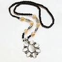 Retro (Opal Flower Pendant) Black Alloy Sweater Necklace (Black)(1Pcs)