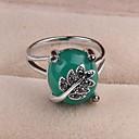 Vintage Elegant Green Gem Leaf Statement Ring