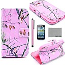 COCO FUN Pink Branch Pattern PU Leather Case with Screen Protector and Stylus for Samsung Galaxy Core GT-I8260 I8262