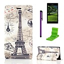 Tower Destination Stamps Pattern PU Leather Case with Screen Protector,Stylus and Stand for Sony Xperia M2 S50h