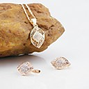 18K Russia CC/585 Golden Plated Rose Color Zircon Jewelry Set