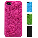 3D Rose Carving Pattern Silicon Rubber Case for iPhone 5/5s (Assorted Colors)