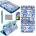 COCO FUN Blue Elephant Pattern PU Leather Case with Screen Protector, Stylus and Stand for Samsung S5 Mini G800