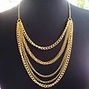 BaoGuangVintage Golden Tassel Five Chain Pendant Necklace