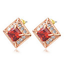 Roxi Fashion Upscale Red Square Austrian Crystal Champagne Zircon Alloy Stud Earring(1 Pair)