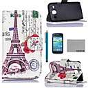 COCO FUN Effie Tower A Pattern PU Leather Case with Screen Protector and Stylus for Samsung Galaxy Core GT-I8260 I8262