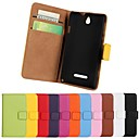 Solid Color  Genuine Leather Full Body Cover with Stand and Card Slot for Sony Xperia E Dual C1605(Assorted Colors)