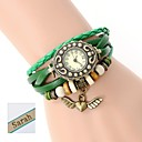 Personalized Gift  Womens Two-Layer Wrap PU Leather Bracelet Analog Engraved Watch  with Rhinestone