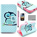 COCO FUN Sleeping Owl Pattern PU Leather Case with Screen Protector, Stylus and Stand for Samsung Galaxy Ace 2 i8160