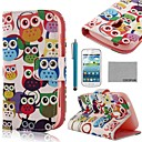 COCO FUN Cute Owl Pattern PU Leather Case with Screen Protector and Stylus for Samsung Galaxy Trend Duos S7562