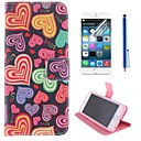 More Color Heart Pattern PU Leather Full Body Cover with Protective Film and Stylus for iPhone 6 Plus