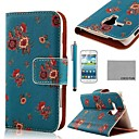 COCO FUN Flower Dark Blue Pattern PU Leather Case with Screen Protector and Stylus for Samsung Galaxy Trend Duos S7562