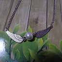 Vintage Imitation Pearl Alloy Tiny Pendant Necklace (Silver) (1 Pc)