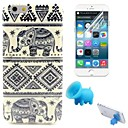 Tribal Carpets and Elephant Pattern TPU Soft Case with Stand and Protective Film for iPhone 6