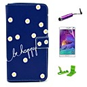Be Happy Daisy Pattern PU Leather Case with Screen Protector and Stylus for Samsung Galaxy Note 4
