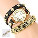 Personalized Gift  Womens Three-Layer Wrap PU Leather Bracelet Analog Engraved Watch  with Rhinestone