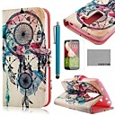 COCO FUN Rose White Pattern PU Leather Full Body Case with Screen Protector, Stylus and Stand for LG G2 MINI