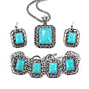Vintage Blue Resin Rectangle Shape Jewelry Set(EarringNecklaceBracelet)(1 Set)